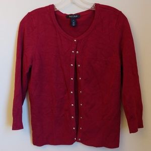 WHBM Red Burgundy Button Snap Cardigan Sweater